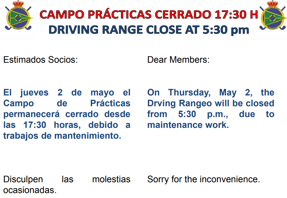 DRIVING RANGE CLOSE AT 5:30 pm (may 2nd)